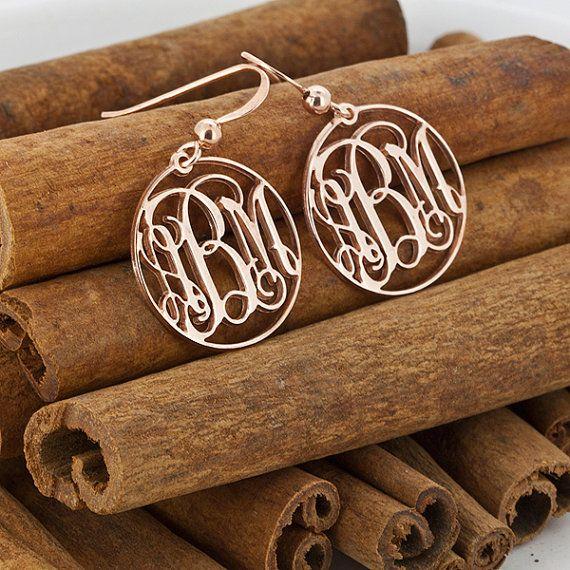 Monogram Earrings, 24K Rose Gold Plated Round Monogram Earings, Personalized Earrings, Monogrammed Earrings
