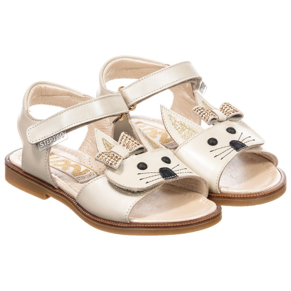 22168b69cb Girls Leather 'Rabbit' Sandals for Girl by Step2wo. | SHOES GIRLS ...