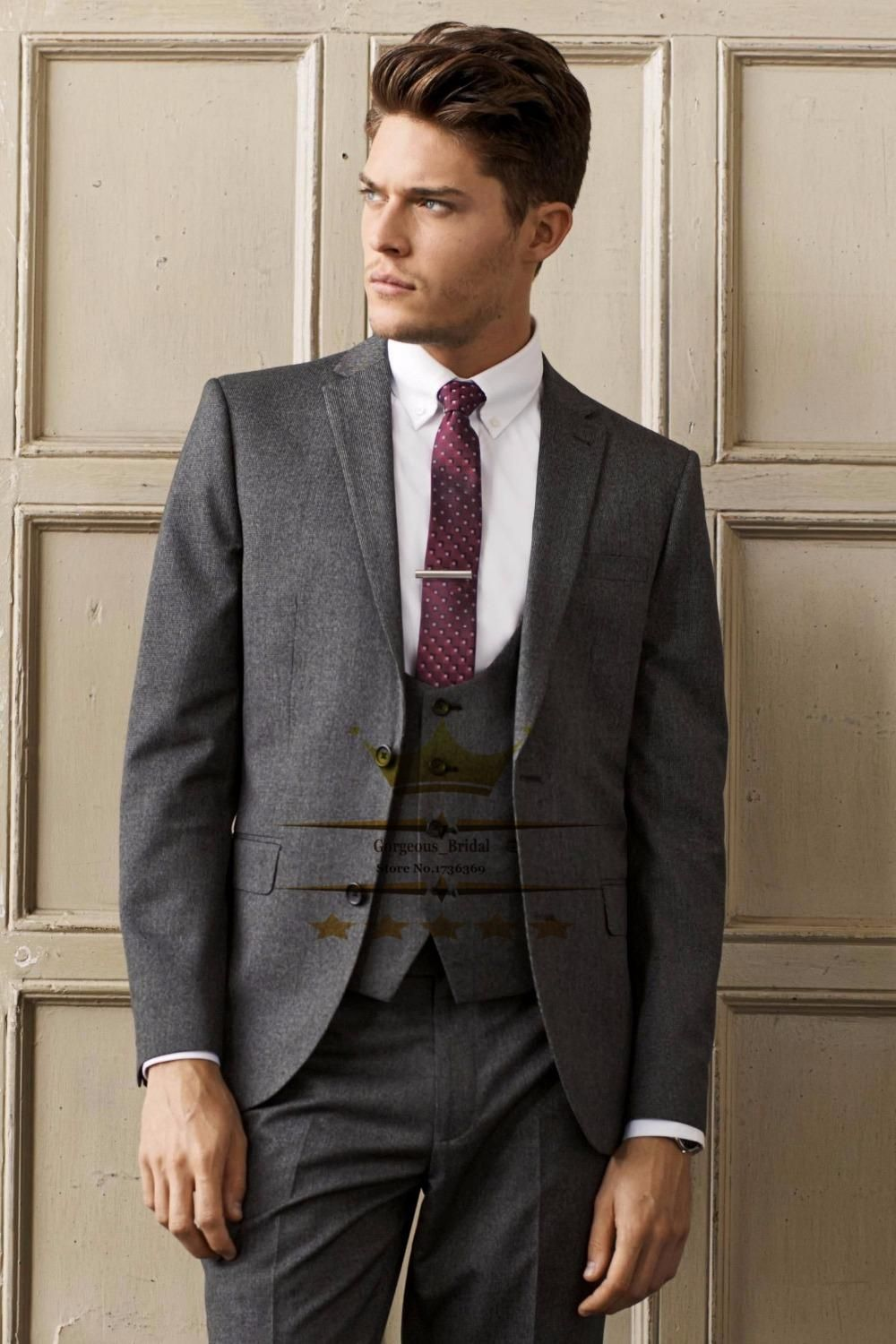 Dark Gray Smoking Wedding Suit For Men Tuxedos Mens Suits With ...