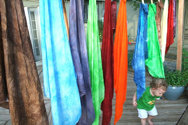 Silks dyed with Kool-aid.  Bailey loves to make tents, forts and play dress up!  I see these great for a new layered maxi skirt I want to make too.