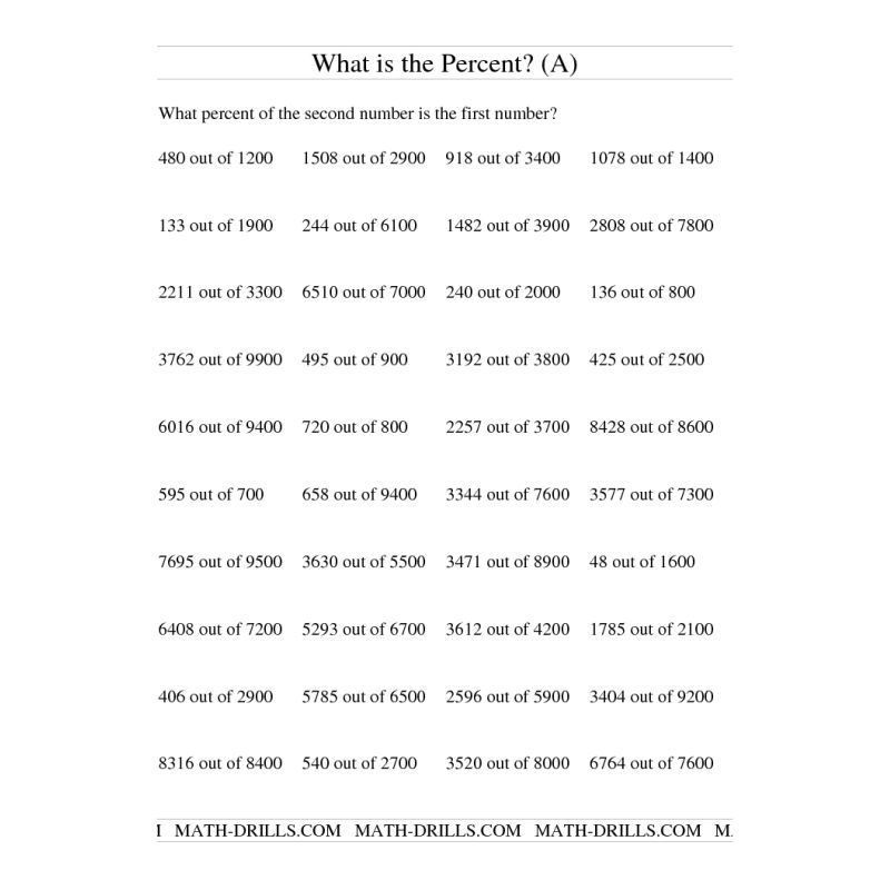 Percents Worksheet Finding Percent Of A Number  Math Review