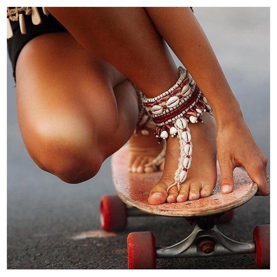 Shell beads crochet handmade anklets cuffs boho gipsy bracelet native americans beach photo shoot sexy accessory