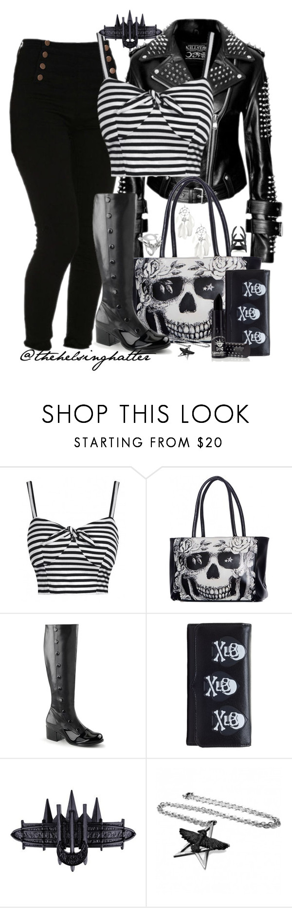 """""""The Only Thing That's Black and White is My Outfit"""" by thehelsinghatter ❤ liked on Polyvore featuring Funtasma and OBEY Clothing"""