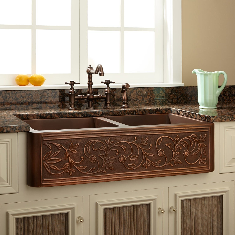 36 Vine Design Double Bowl Copper Farmhouse Sink Copper Kitchen