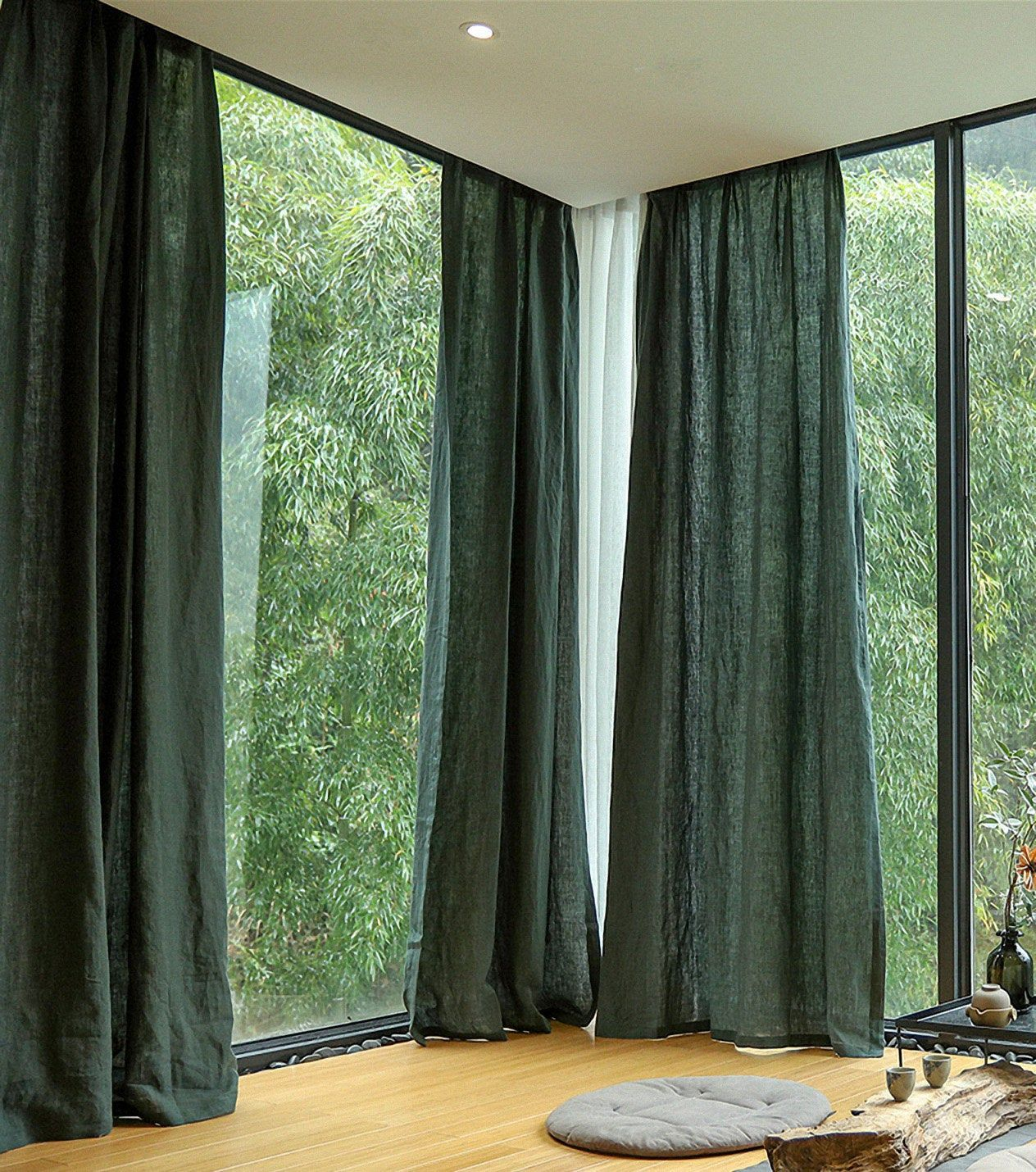 linen curtains green curtains bedroom