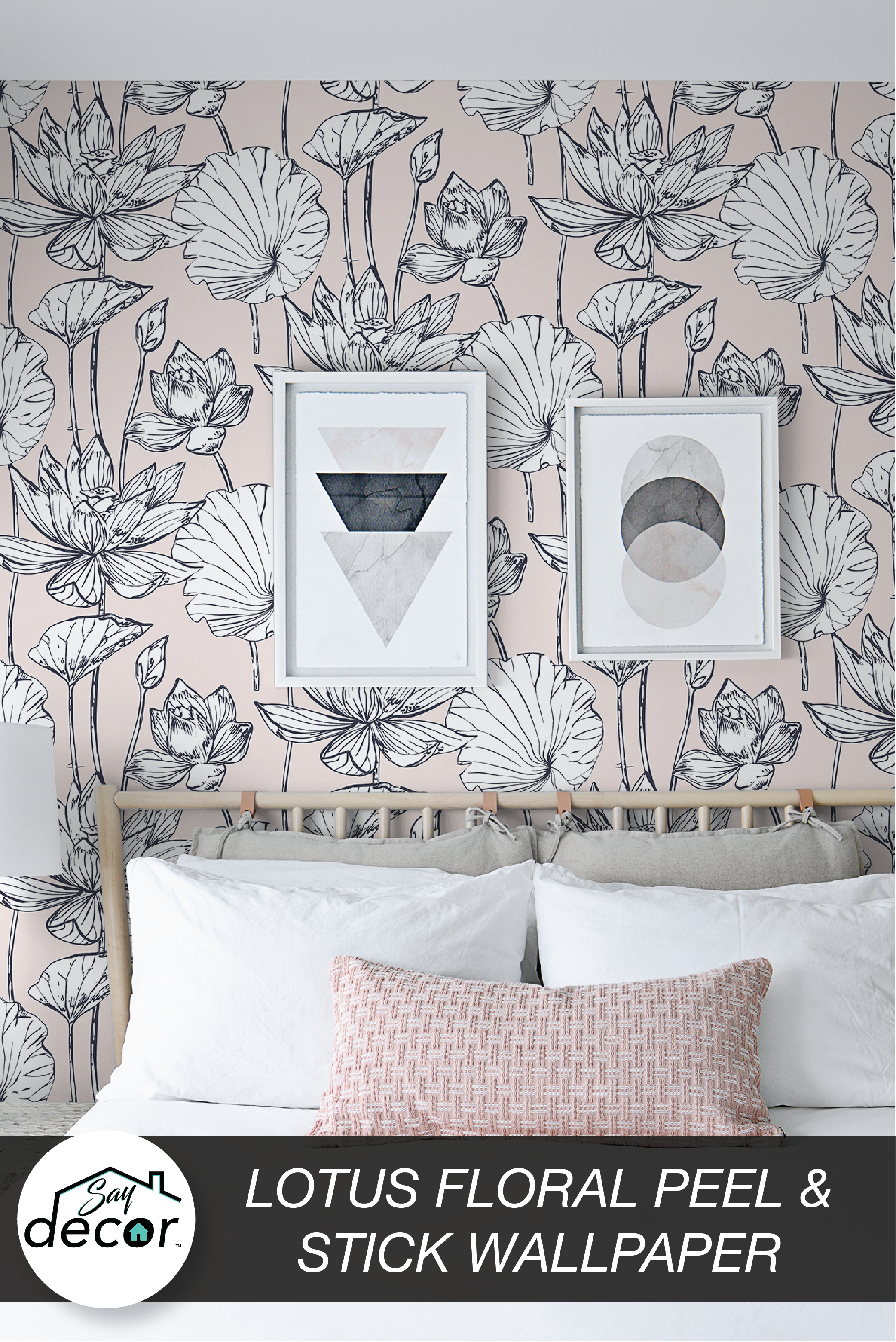 Peel And Stick Floral Pink Lotus Bohemian Removable Wallpaper Self Adhesive Pink Wall Decor Removable Wallpaper Pink Floral Wallpaper
