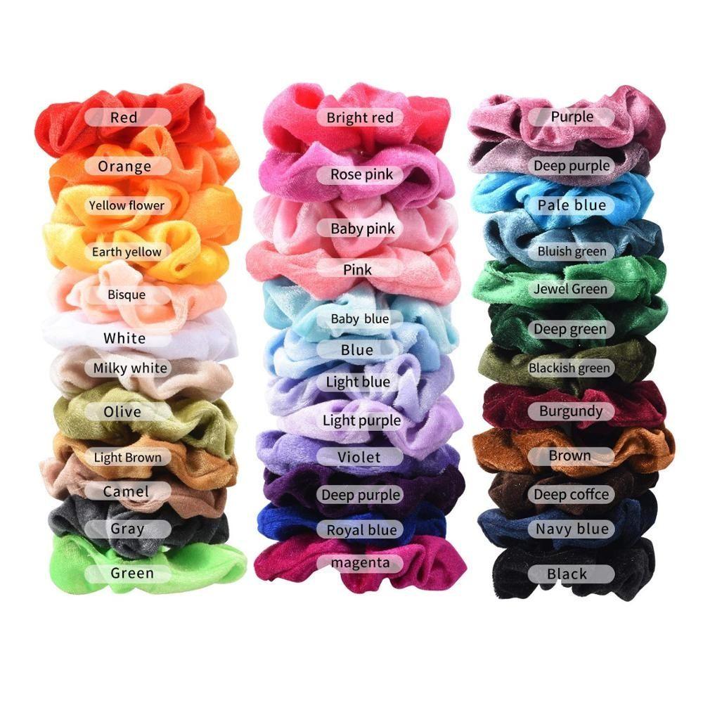 Women Winter Hair Scrunchies Velvet Elastic Hair Bands Scrunchy Hair Ties Ropes#