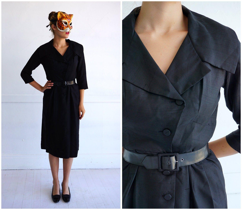 1950s Black and Green Wiggle Dress with jacket and original belt Vintage SmallMedium