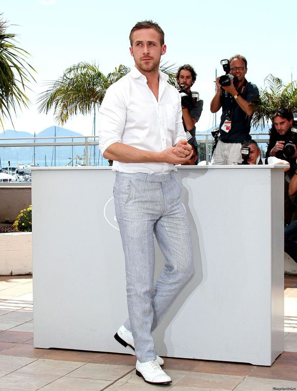 Ryan Gosling at Cannes in Casual White Shirt, Light Gray pants and ...