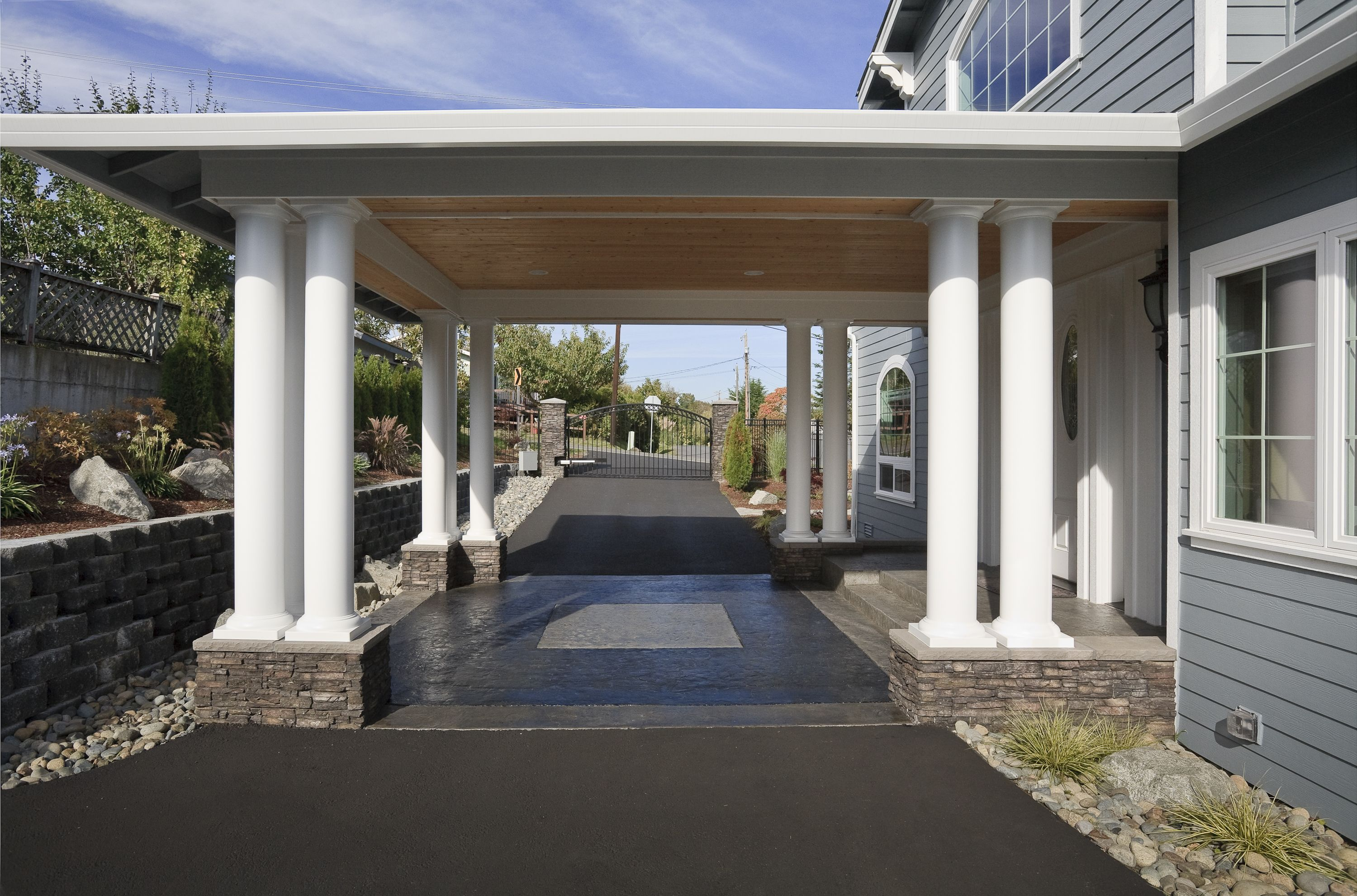 Choice Construction Remodel Custom Homes Gig Harbor Driveway Front Entry Port Cochere Portico Beams Covered Wood Ceiling
