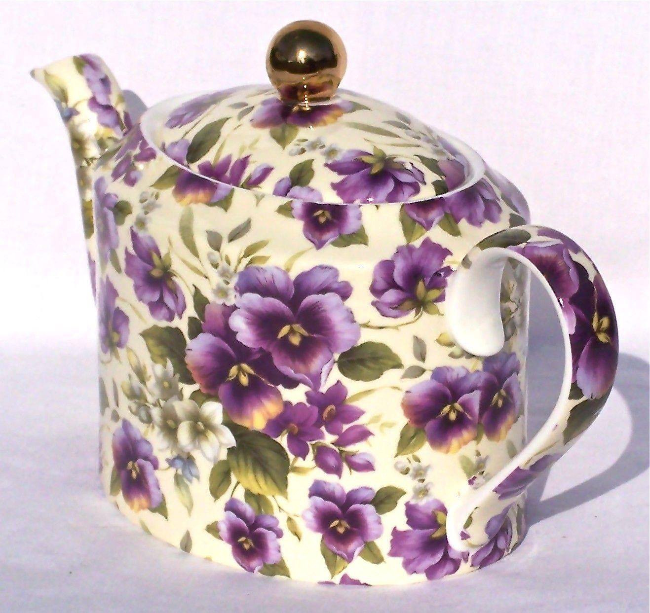 Chintz Teapots | Fine English Bone China Teapot - 6 Cup Oval Shape - Pansy Chintz