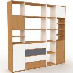 Photo of Holzregal Weiß – Modernes Regal aus Holz: Schubladen in Weiß & Türen in Weiß – 193 x 195 x 35 cm, Pe