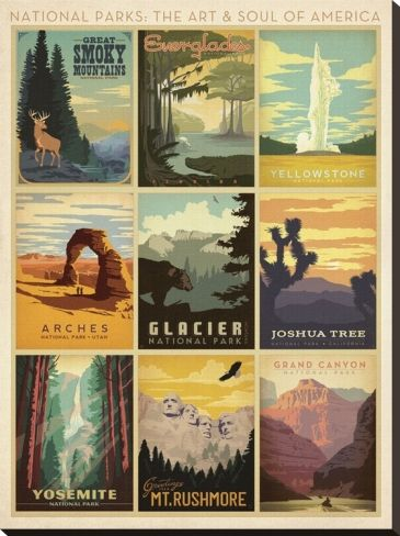 National Parks The Art Soul Of America Stretched Canvas Print Anderson Design Group Art Com National Park Posters America Art National Parks
