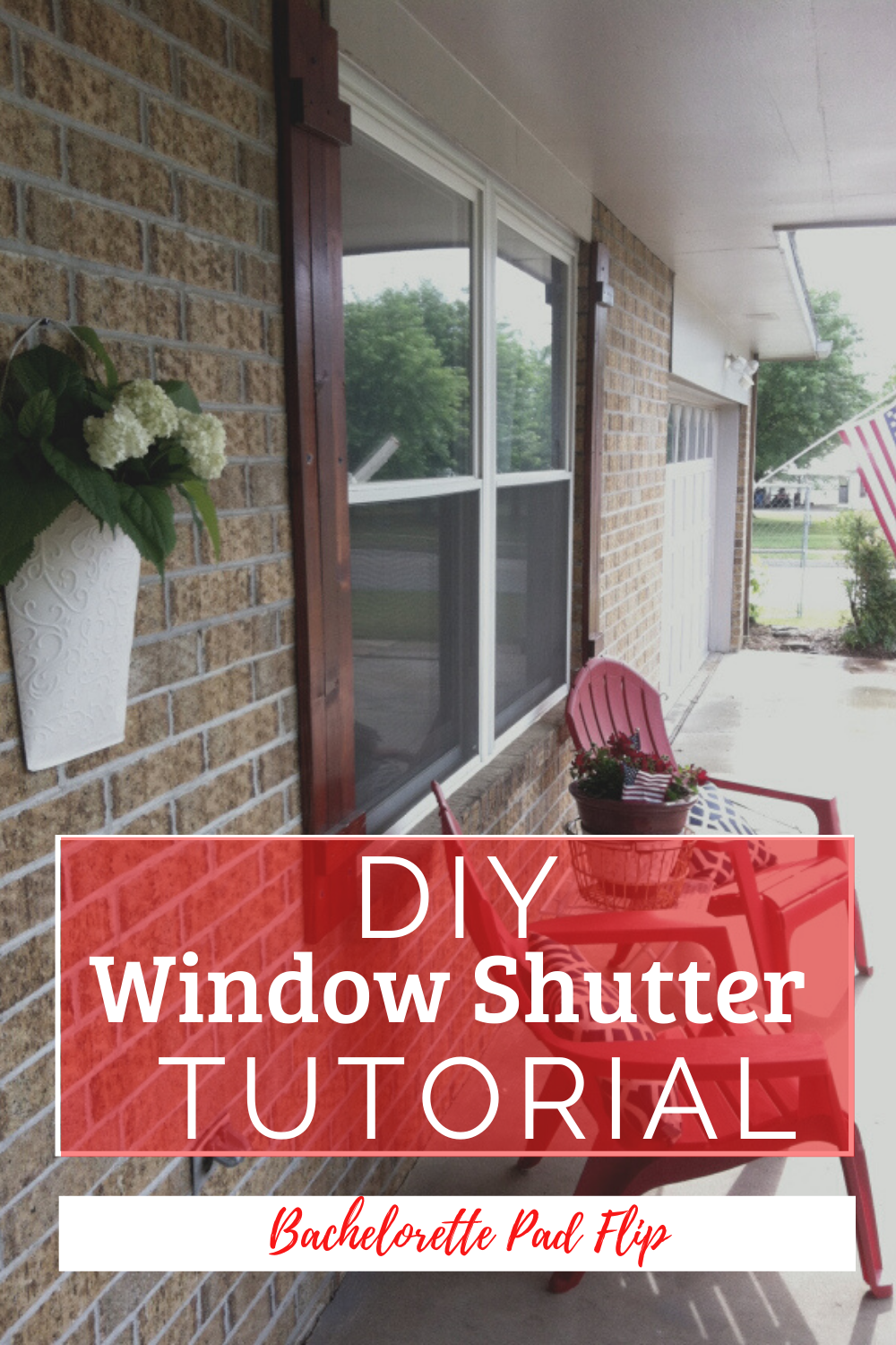 Inexpensive and easy window shutters tutorial. #diyproject #windowshutters #curbappeal