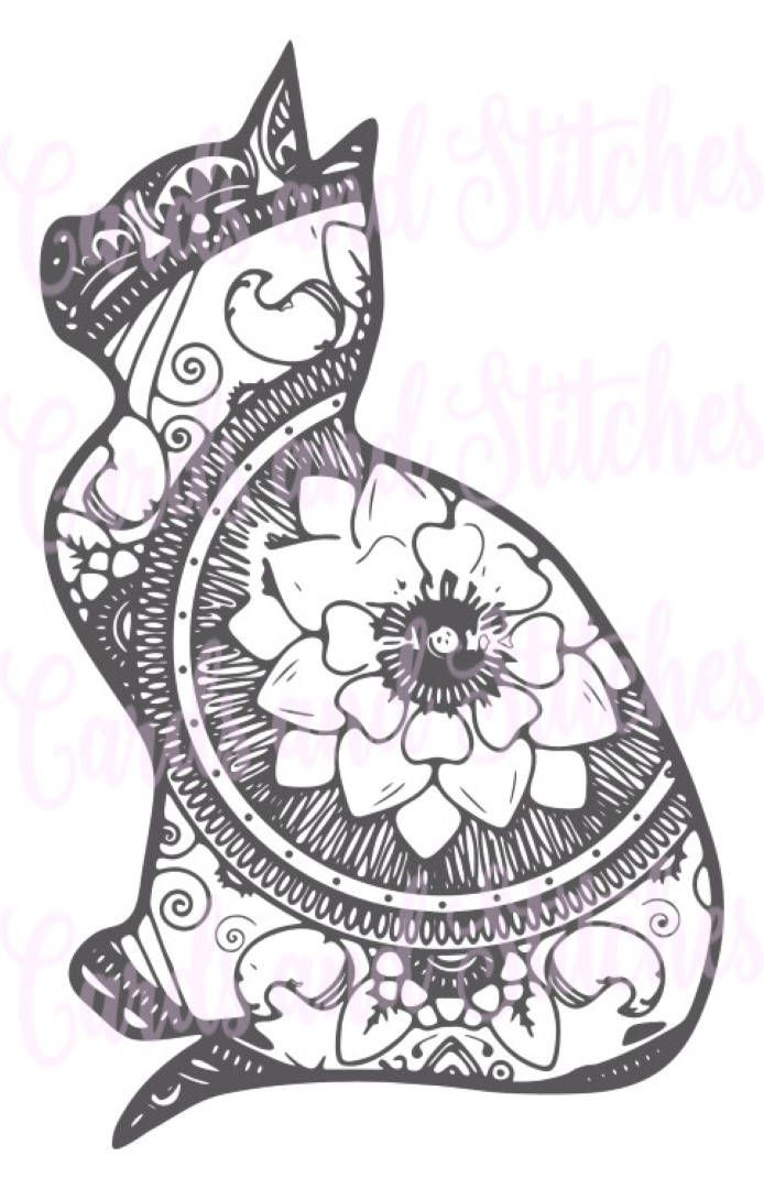 Lovely This Cat Mandala SVG Digital Cutting File And Clipart Is Great For Cutting  Vinyl Or Coloring