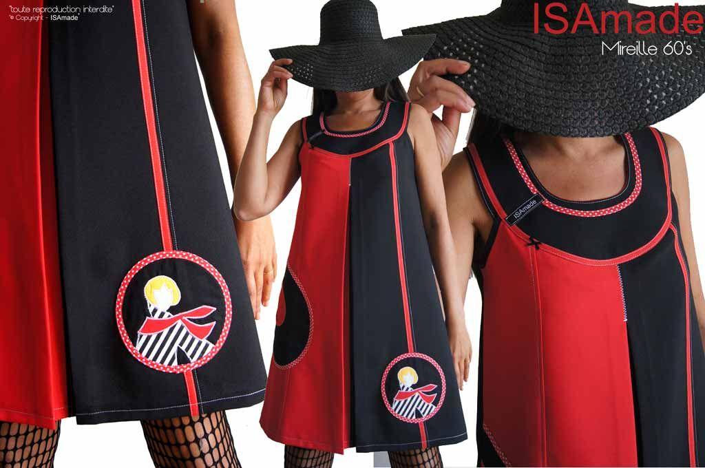 94219ee3229 Robe Trapèze rouge noire 60 s créateur chic