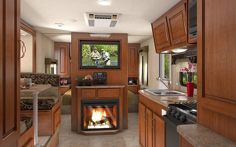 20 Awesome Camper Fireplace Ideas Travel Trailer Interior
