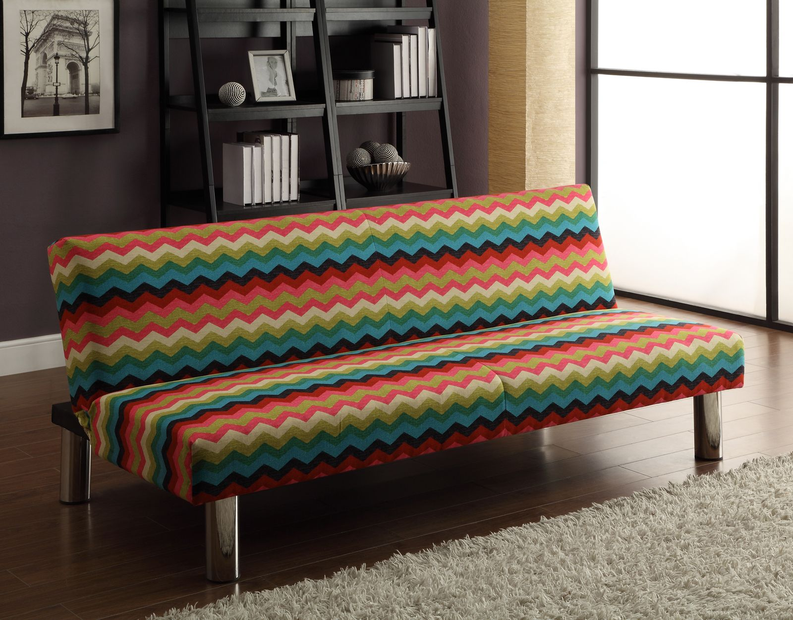 Dorel Home Products Suite 9A of C Waverly Chevron pattern futon