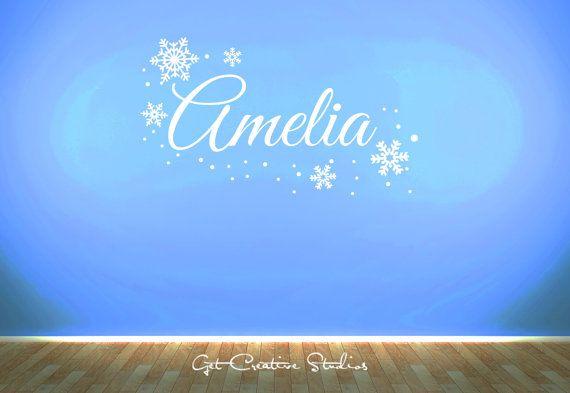 NURSERY ELSA-ANNA Inspired,snowflakes FREE Personalised Name wall sticker,KIDS