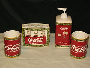 Bathroom Accessories With E A Cola Coca Set 4 Pieces Great Condition Ebay