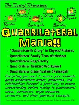 Quadrilateral Mania:Whether you are first introducing quadrilaterals as part of a geometry unit, teaching a unit on area and perimeter, discussing interior angle measures, doing tessellations, or delving into symmetry and transformations, building a solid foundational understanding of the different types of quadrilaterals and their properties is a vital first step.