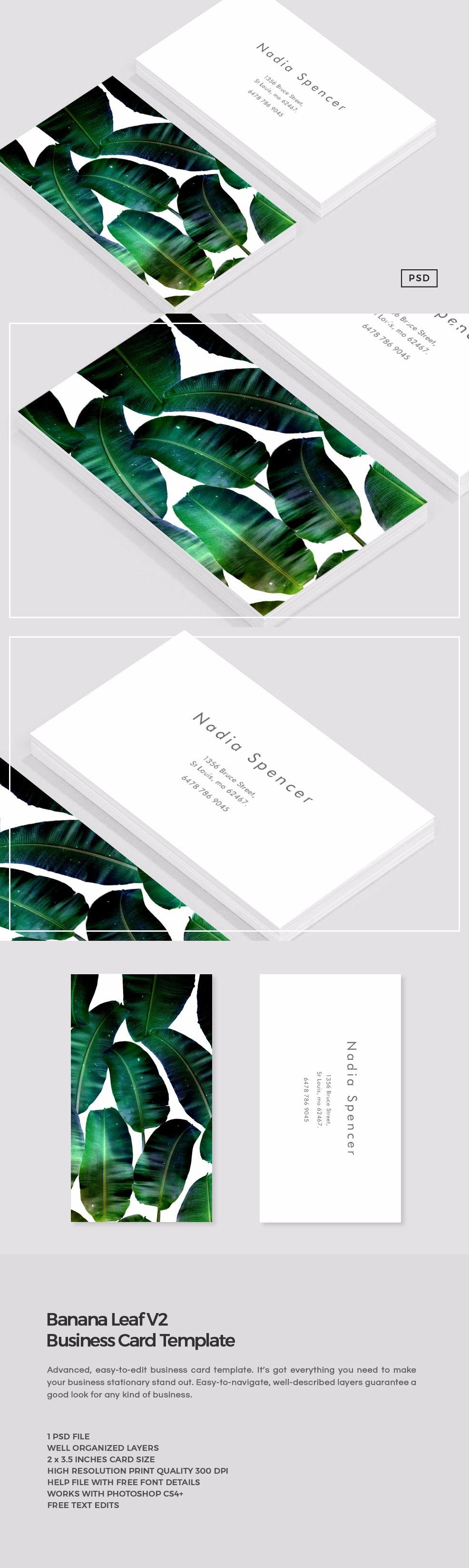Banana Leaf Business Card Template Business Card Template Business Card Template Design Business Card Design