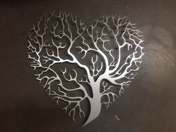 Wall Art Trees tree heart metal wall art - tree metal wall art - unique wall