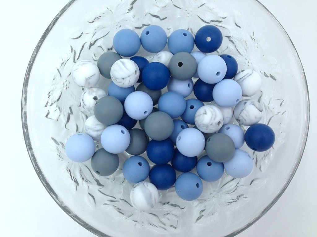 Shades Of Blue Marble Gray 50 Or 100 Bulk Round Silicone Beads Silicone Teething Beads Teething Beads Silicone Beads