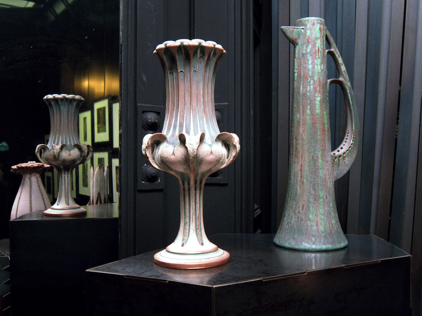 Fin-de-Siècle Austrian Pottery Paired with Prints by Klimt