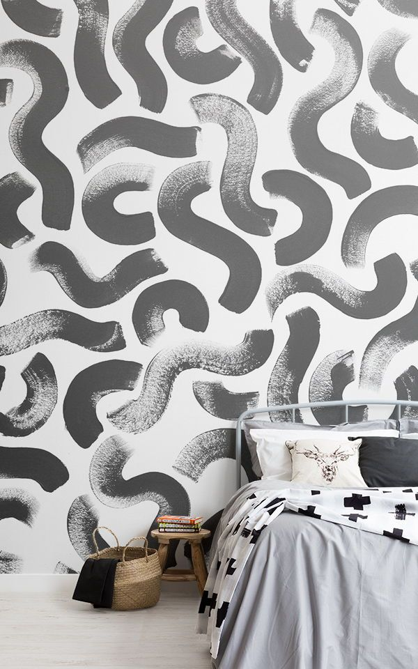Black Paint Brush Stroke Abstract Wallpaper Mural Hovia Uk Feature Wall Bedroom Wallpaper Bedroom Wall Decor Bedroom Unisex bedroom wallpaper ideas