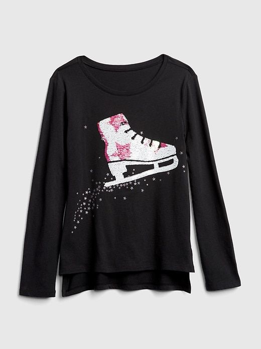 e852393651e Gap Girls Flippy Sequin Graphic T-Shirt Moonless Night. product Girl Outfits  ...