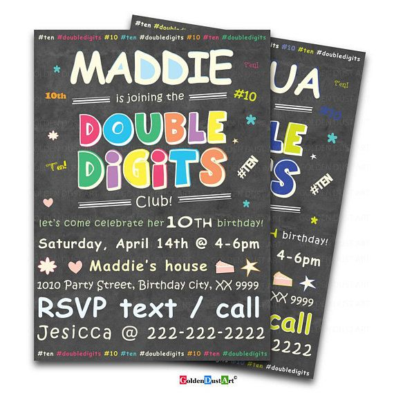 Double Digits Birthday Party Invitation 10th Invite Chalkboard Happy