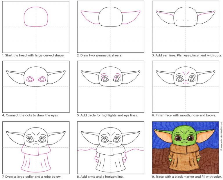 How To Draw Baby Yoda Art Projects For Kids Yoda Art Baby Drawing Star Wars Art Drawings
