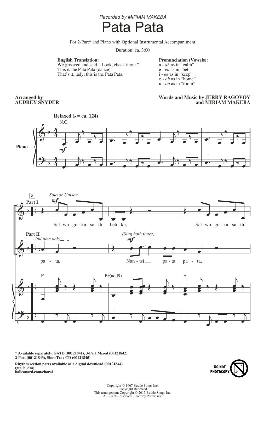 Pata Pata - Choral Music Download | Champ Choir | Music