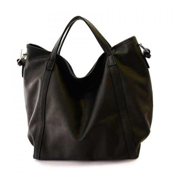 Casual Buckle and Solid Color Design Women's Tote Bag, BLACK in Tote Bags | DressLily.com