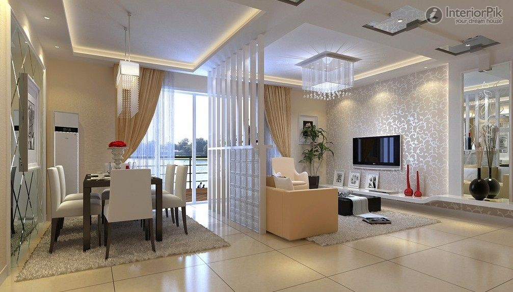 modern room divider for living room and dining in apartment - Living Room And Dining Room