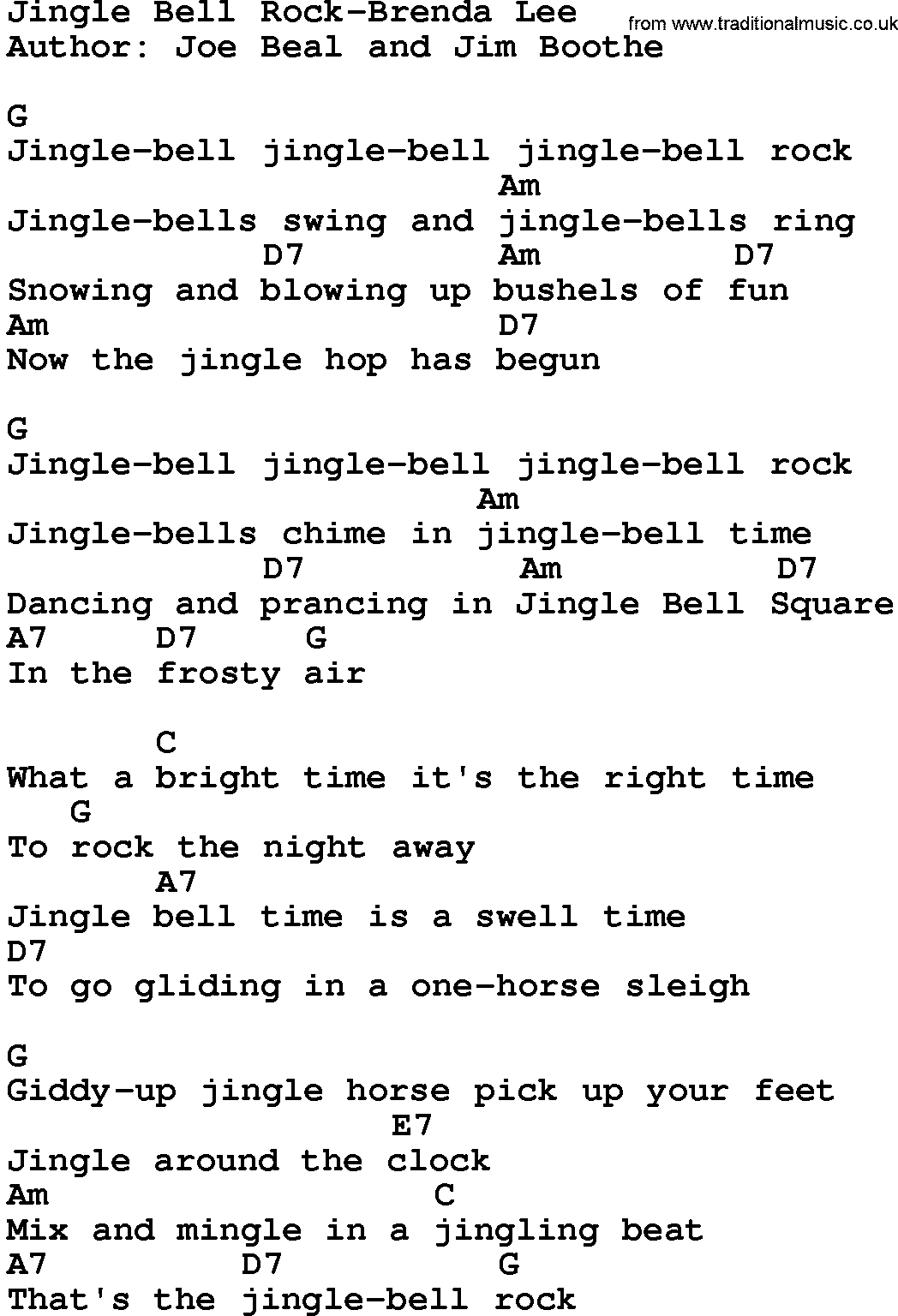 Country Music Song Jingle Bell Rock Brenda Lee Lyrics And Chords Lyrics And Chords Guitar Chords And Lyrics Song Lyrics And Chords