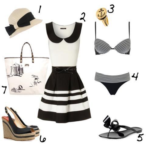 Eleganza sulla spiaggia Coco Chanel..splendidi il vestitino, la borsa, il cappello ed i sandali...