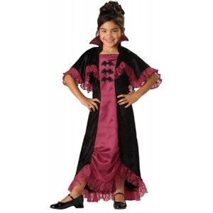 Midnight Vampiress Kids Gothic Costume Price: $35.00  Little girls gothic vampire costume includes the dress trimmed in pretty pink lace with attached collar and capelet.  #cosplay #costumes #halloween