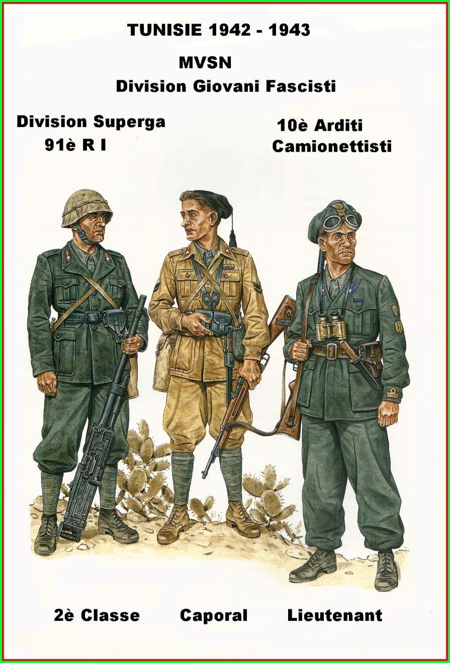 """Regio Esercito - Tunisia 1942-43 - Soldato semplice, Divisione di Fanteria """"Superga"""" - Caporale, Divisione MVSN """"Giovani Fascisti"""" - Tenente, 10° Rgmt. Arditi Camionettisti"""