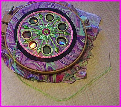 fiber art - covered cd's - tutorial