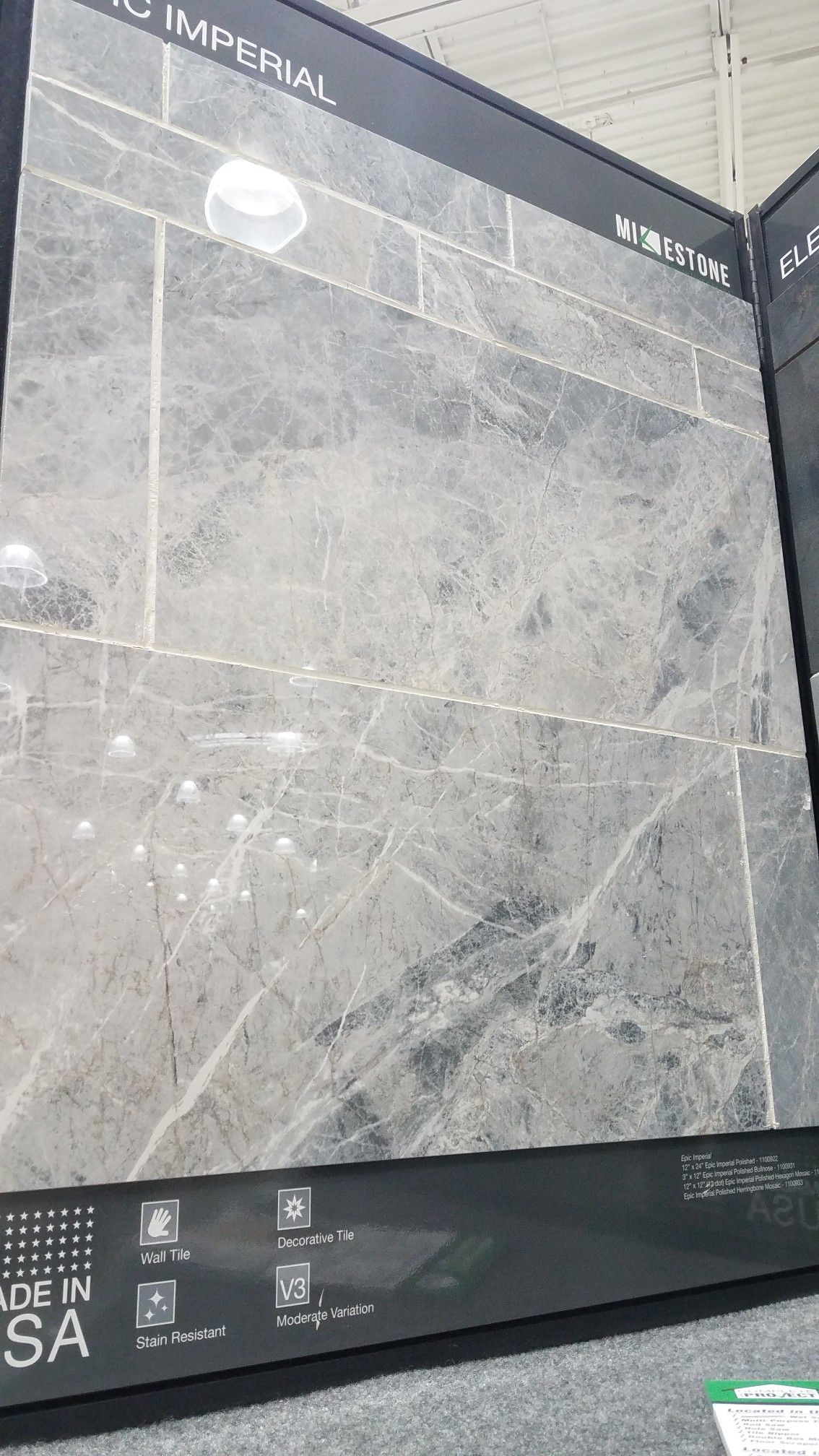 Beautiful tile...looks like gray marble. It is actually