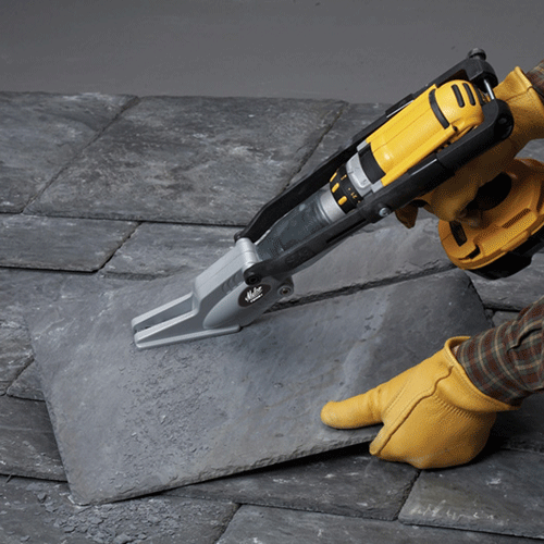 """Make your power drill a powerful slate-cutting shear! The Malco Turboshear Model TSNS1 quickly inserts into the chuck of most corded or cordless drills. This versatile and """"portable"""" TurboShear requires less force than other slate-cutting methods. An operating speed of 1400 to 2000 RPM ensures optimal performance and control for making fast straight, angled or curved cuts in 4 to 8 mm natural roofing slate."""