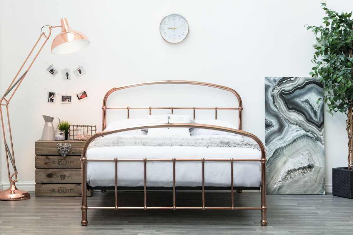 Lichfield Copper Victorian Hospital Style Metal Bed Frame Double