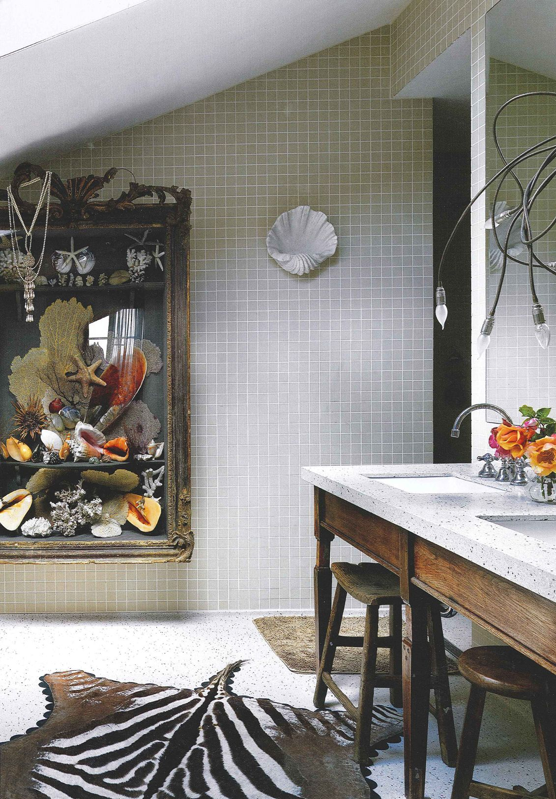 Shell & other sea curiosities in super-sized shadow box. Eclectic #bathroom #design