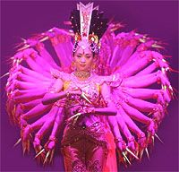1000 hand Guan Yin - an extraordinary display of beauty and grace from 21 members of the China Disabled People's Performing Art Troupe who are all profoundly deaf.