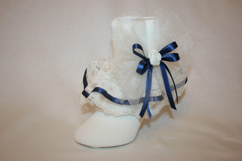 Girls Ivory Nylon /& Lace Flower Girl Socks with Ivory Satin Ribbon Bows