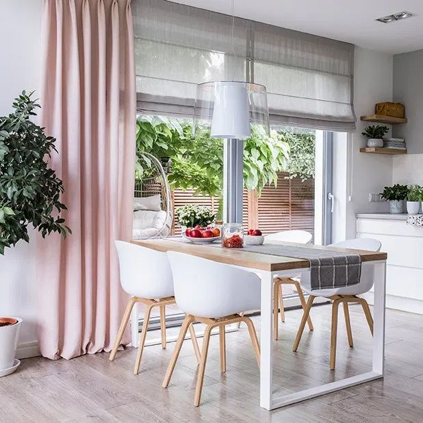 2020 Trends In Curtains And Window Treatments Posh Diggs In 2021 Dining Room Interiors Fabric Blinds Pink Curtains