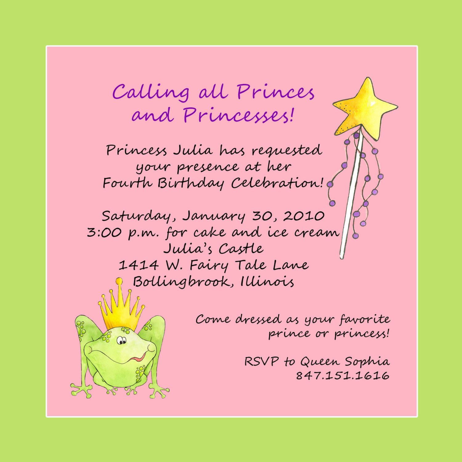 princess party invite wording