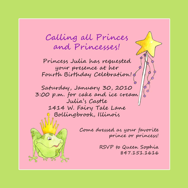princess party invite wording